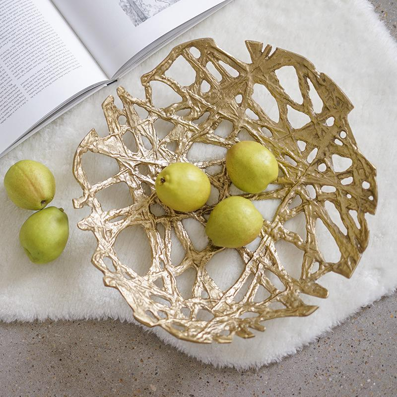 Modern Light Luxury Metal Serving Tray Storage Plate Home Decor Table Ornament Special Design Solid Brass Tray