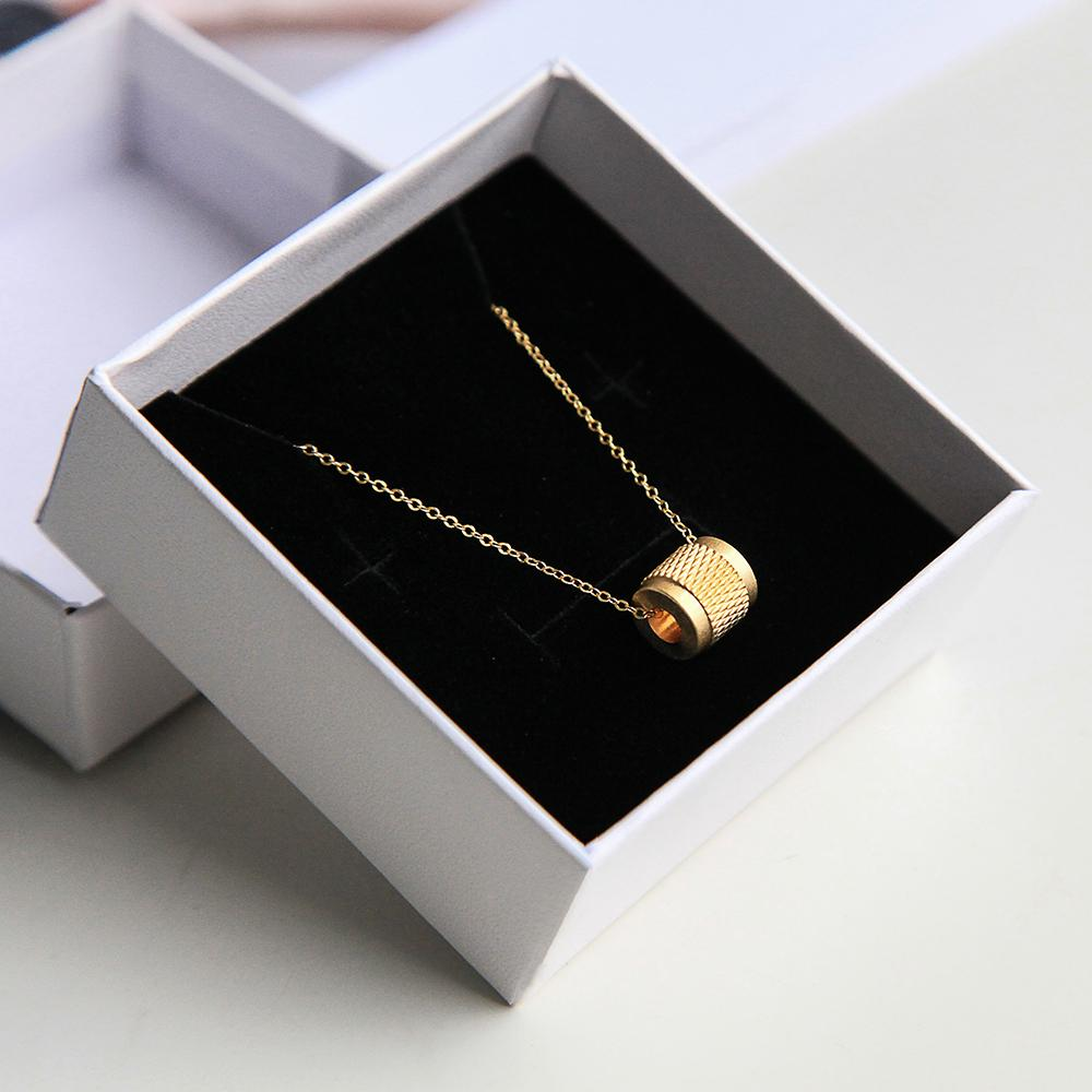 Maxery Knurling Necklace 18K Gold Brass Necklace Waterproof  Necklace Mechanical And Cool Gift for Man And Woman With Gift Box