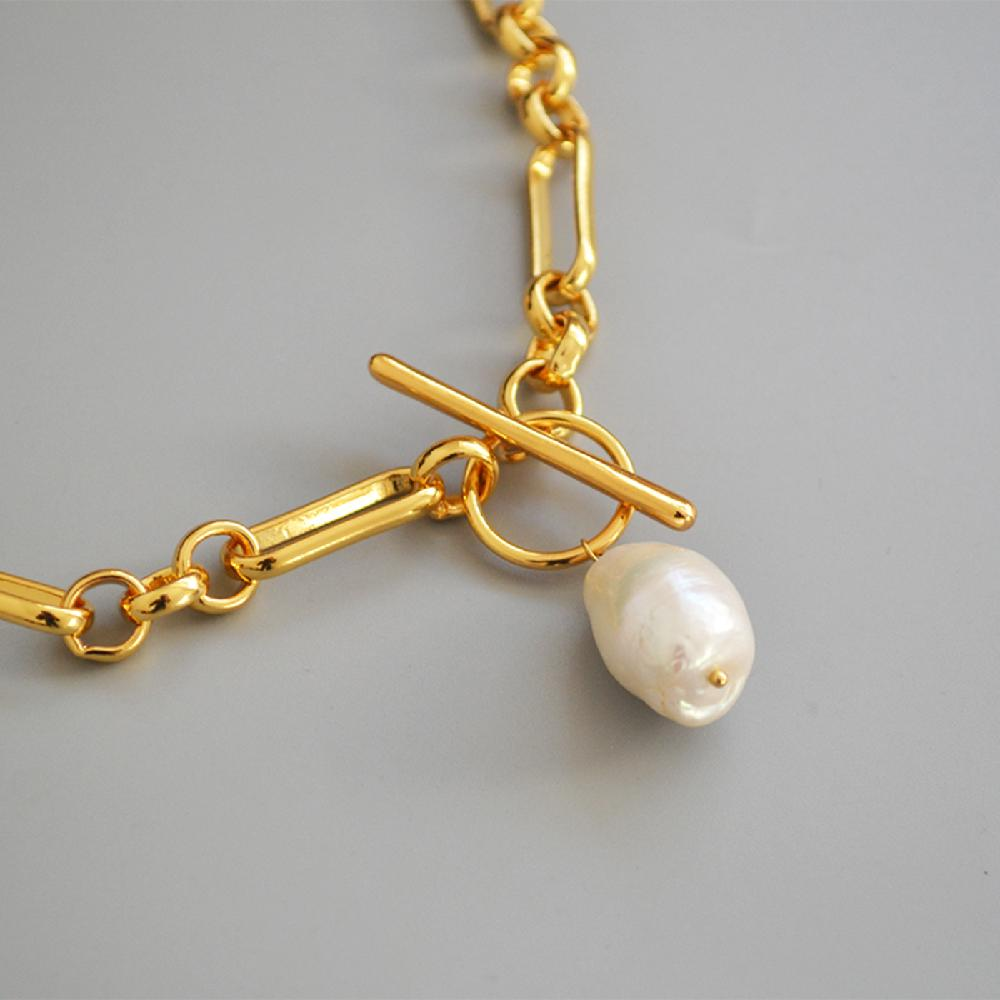 Maxery Nice 18k Brass and Pearl Chain Necklace Jewelry Gold Necklace With Pearl Free Match Necklace