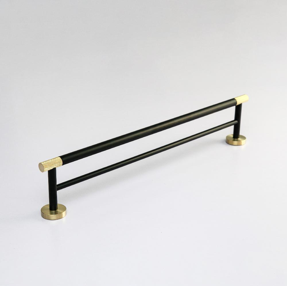 Maxery 304 Stainless Steel Wall Mount Double Towel Bar 60cm Gold Knurled Towel Holder Black Towel Rack Bathroom