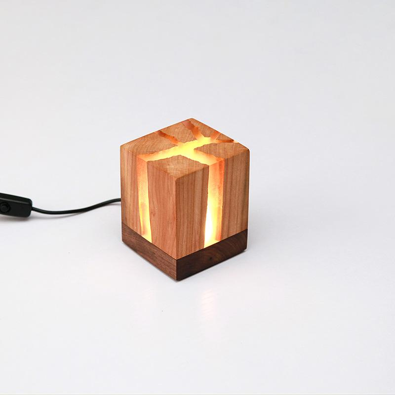 Maxery Wood and Epoxy Resin Lamp, Night Light Home Decor, Resin Lamp Unique Gifts Ideas