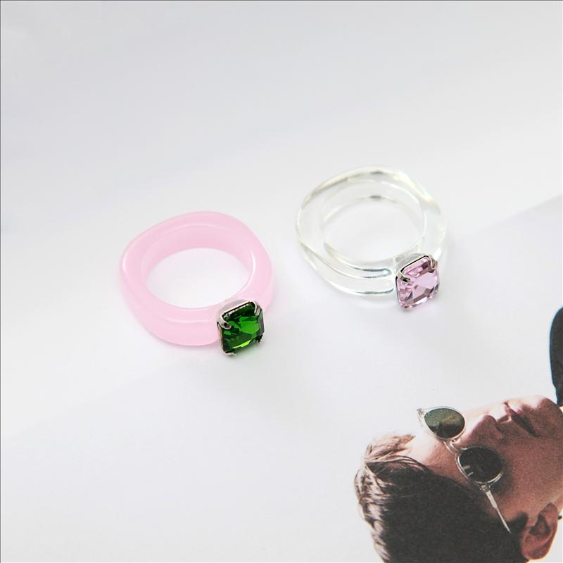 Maxery Cute Style Candy Color Resin Ring Acrylic Gem Finger Ring Resin Jewelry For Woman