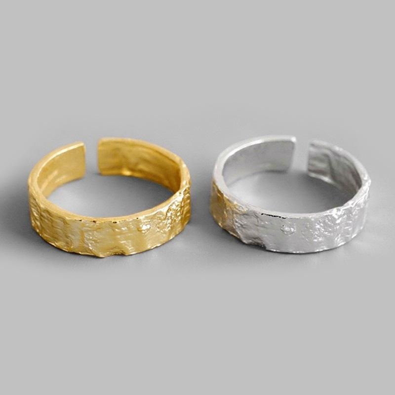 Maxery Cold Style Gold And Silver Brass Open Ring Irregular Finger Ring For Man and Woman